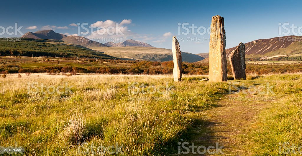 The megaliths of Machrie Moor stock photo