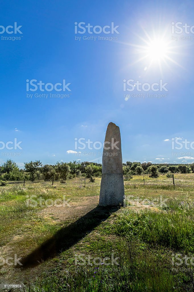The Megalitic Monument Menhir - A Natural Sundial stock photo