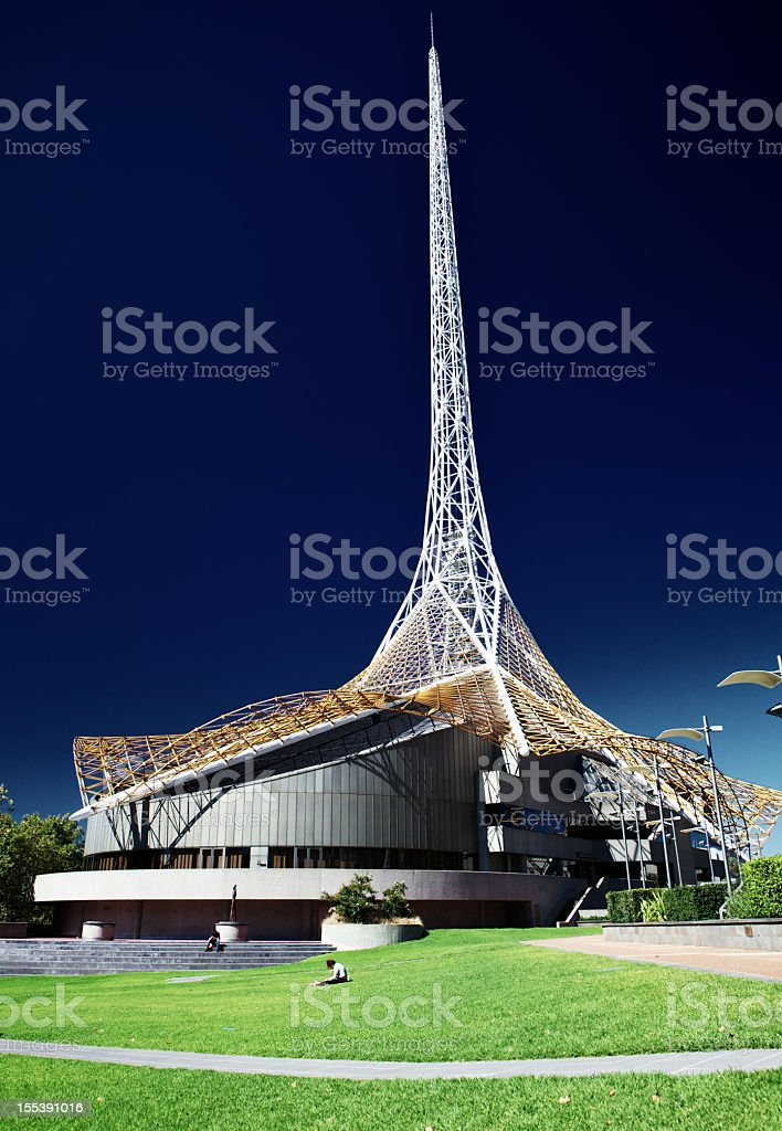 The Melbourne arts center at nighttime royalty-free stock photo