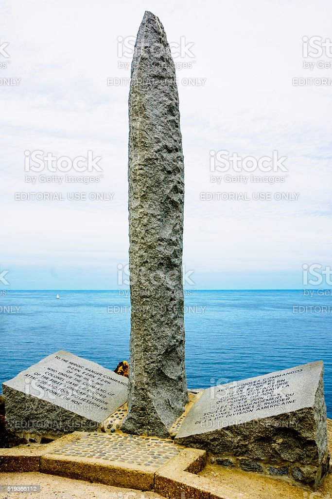 The memorial in Pointe du Hoc stock photo