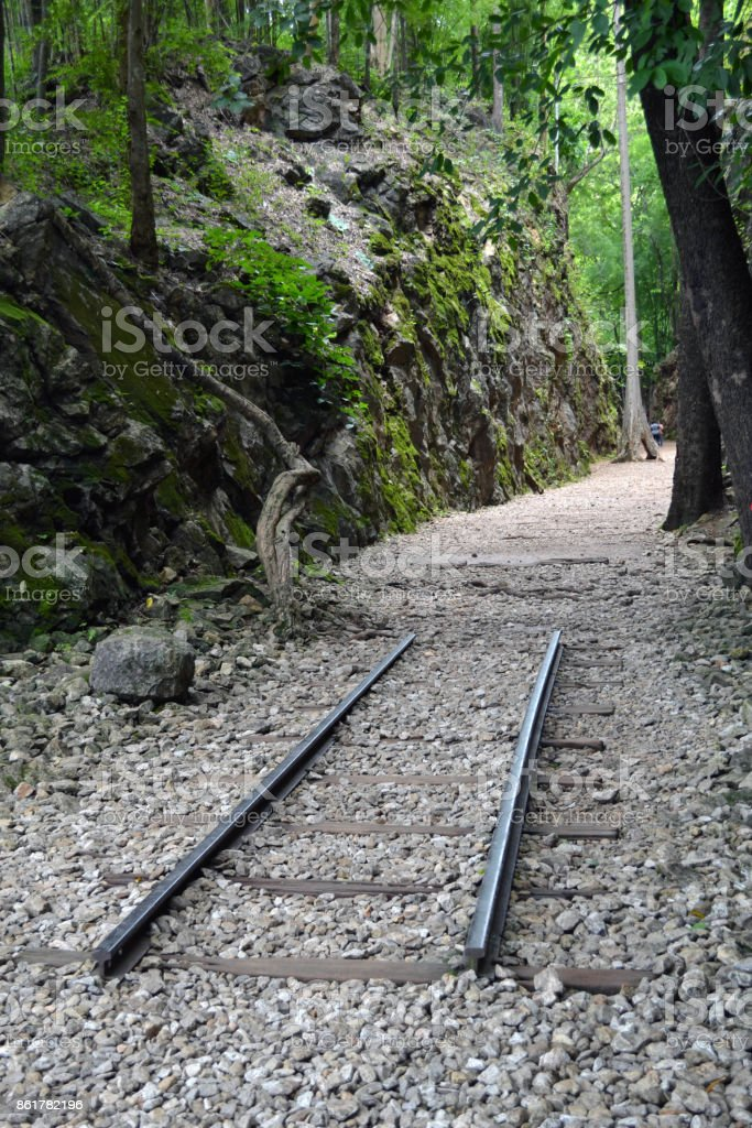 The memorial of Hellfire Pass as a part of Thailand-Burma Railway in Kanchanaburi, Thailand stock photo