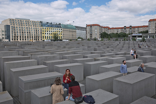 The Memorial to the Murdered Jews of Europe in Berlin Germany. Also known as the Holocaust Memorial, designed by architect Peter Eisenman
