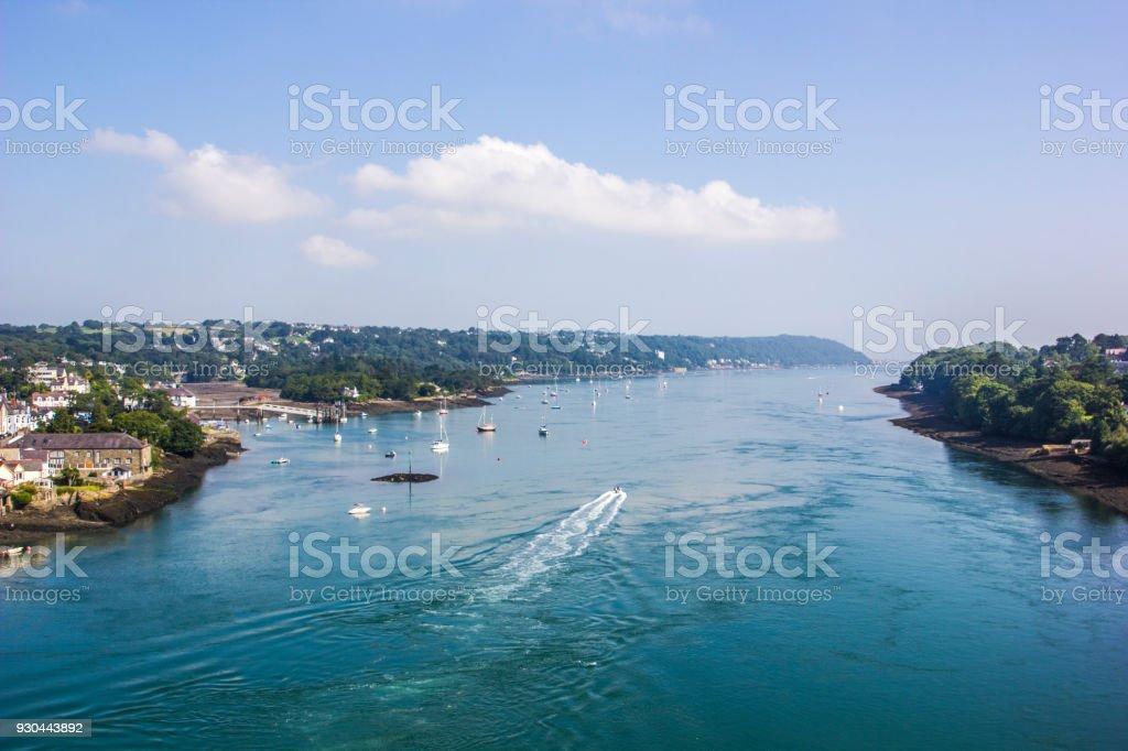 The Menai Strait from Menai Suspension Bridge in Anglesea, Wales, UK stock photo