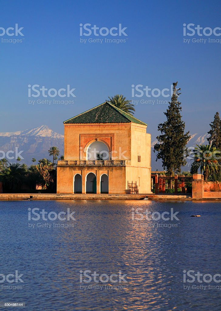 The Menara Gardens and Pavilion, Marrakesh. stock photo