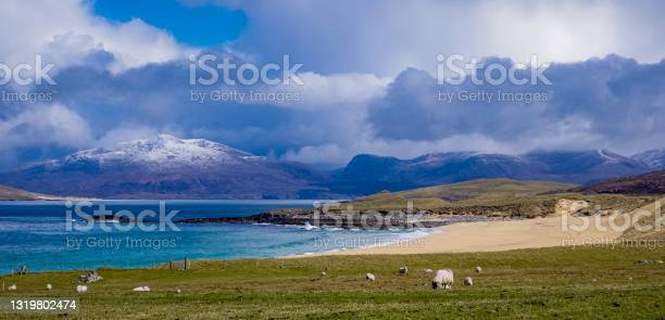 Photo of The Menhir (Standing  Stone) known as Clach Steineagaidh in Gallic at Borve, West Harris, Outer Hebrides, NW Scotland