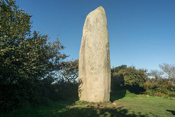The menhir of Kerloas, prehistoric rock. stock photo