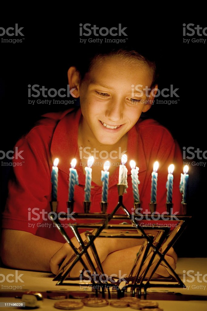 The Menorah's Glow stock photo