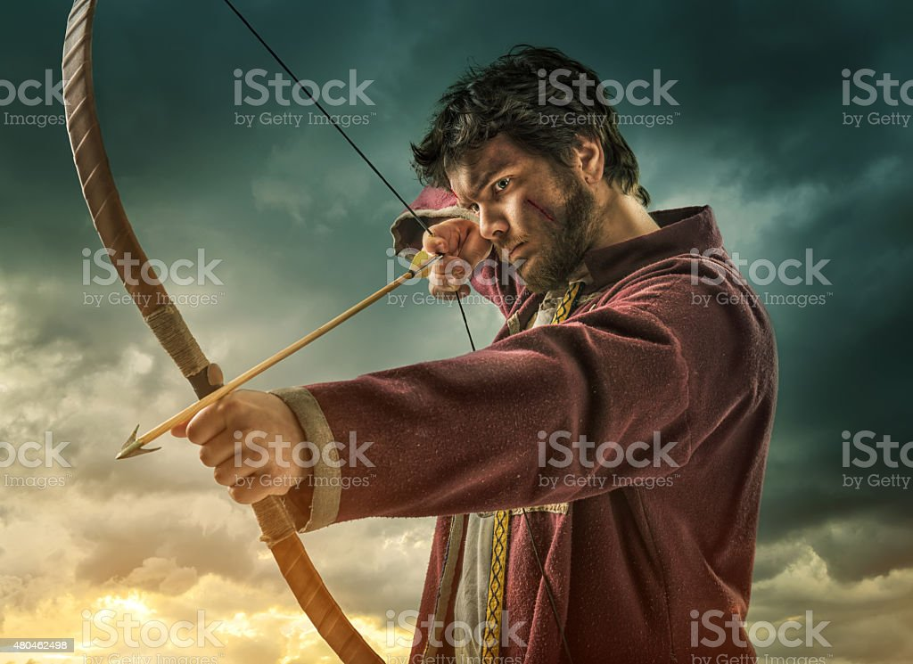 The men's archery target - close stock photo