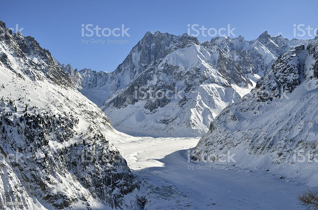The Mer de Glace, Sea of Ice in Chamonix, France stock photo