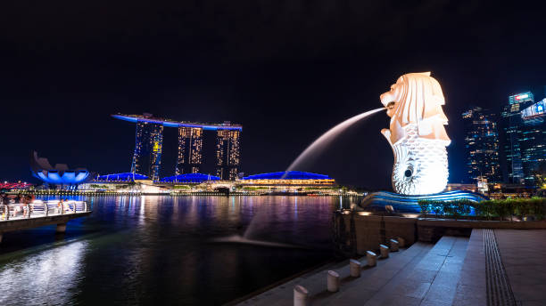 The Merlion at night 3 Merlion Park, Singapore - April 7, 2018 : Merlion statue beside the river at night merlion statue stock pictures, royalty-free photos & images