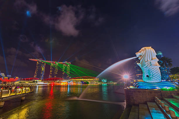 The Merlion at night stock photo