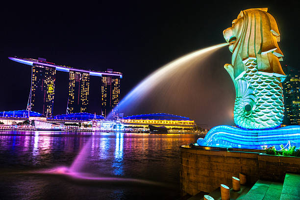 The Merlion  fountain and Marina Bay Sands, Singapore. Singapore, Singapore - March 18, 2013:Night view of the Merilon Statue at Marina Bay with Singapore Skyline in background merlion fictional character stock pictures, royalty-free photos & images