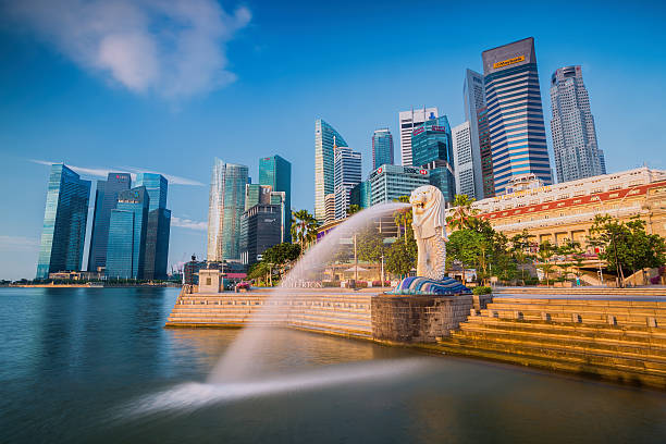 The Merlion fountain and Singapore skyline Singapore, Singapore - September 1, 2014: The Merlion fountain in front of the Marina Bay Sands hotel on September 01, 2014 in Singapore. Merlion is a imaginary creature with the head of a lion, seen as a symbol of Singapore merlion statue stock pictures, royalty-free photos & images