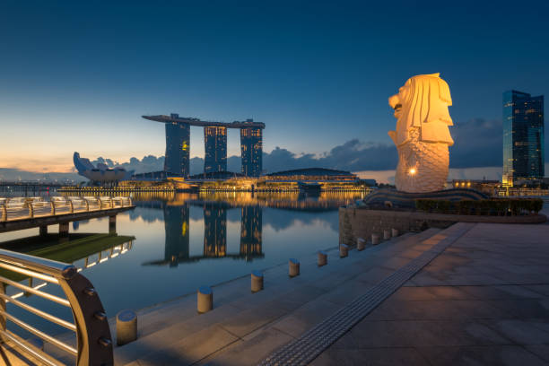 the merlion statue at merlion park during twilight - singapore stock photos and pictures