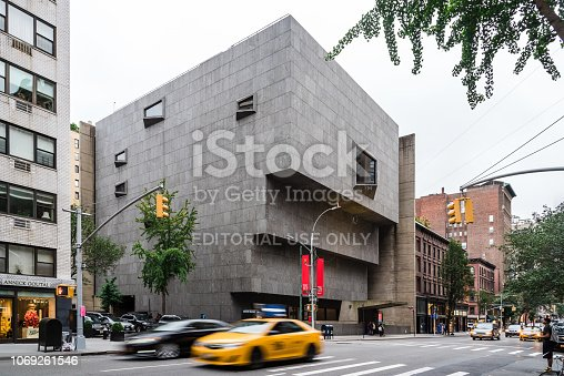 New York City, USA - June 23, 2018: The Met Breuer, exterior view. It is a museum of modern and contemporary art in Madison Avenue in the Upper East Side. The building was designed by Marcel Breuer