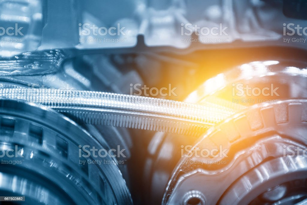 The metal drive chain in gearbox stock photo