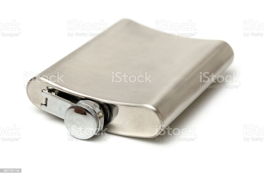 The metal flask isolated on a white background stock photo