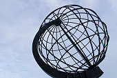The metal globe from the North Pole, Nordkapp, Norway