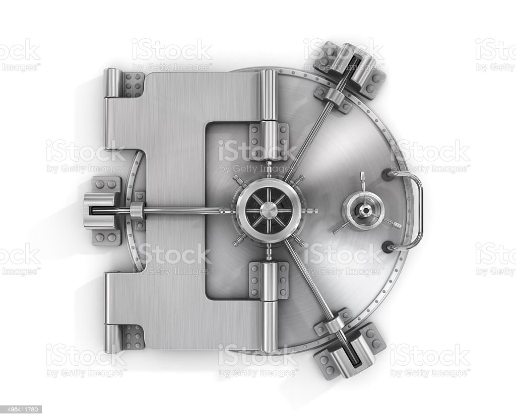 The metallic bank vault door stock photo