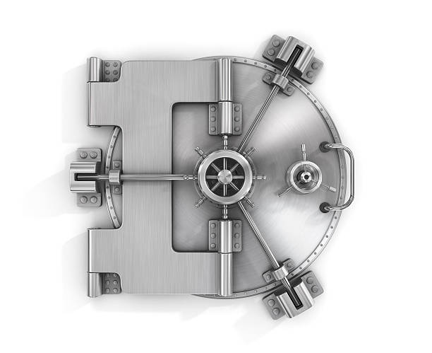 The metallic bank vault door The metallic bank vault door on a white background isolated on white with clipping path. security equipment stock pictures, royalty-free photos & images