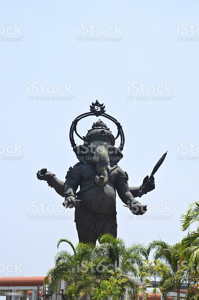 The metallic sculpture of big Ganesha is standding royalty-free stock photo