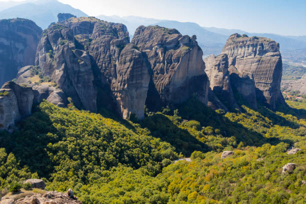 The Meteora is a rock formation in central Greece stock photo