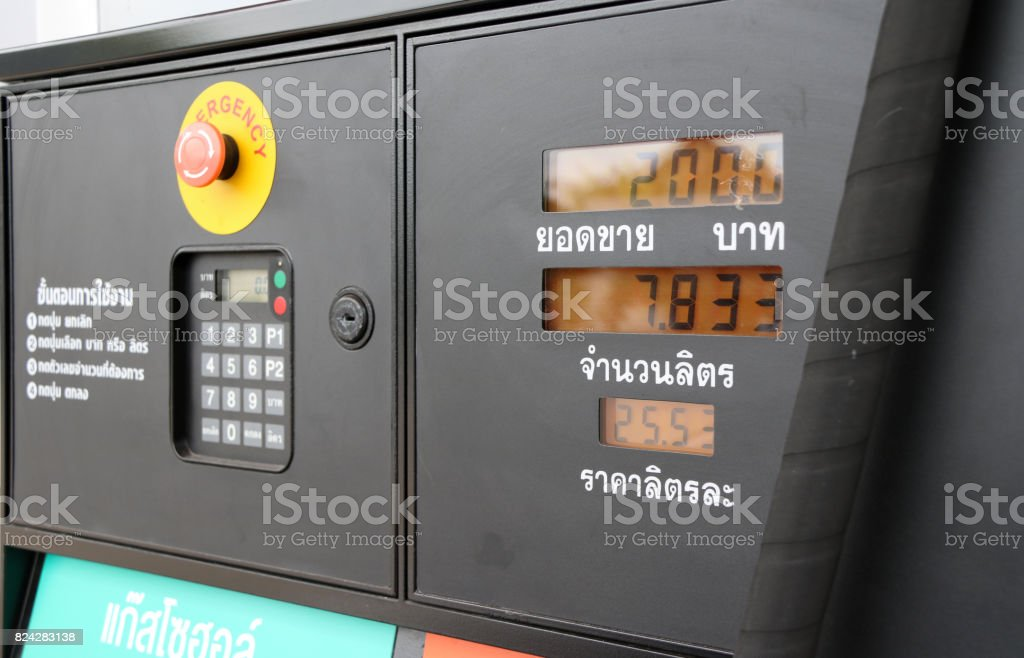 The meter of Gas dispenser in the gas station. stock photo