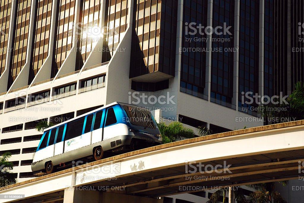 The Metomover Traveling Through Downtown Miami stock photo