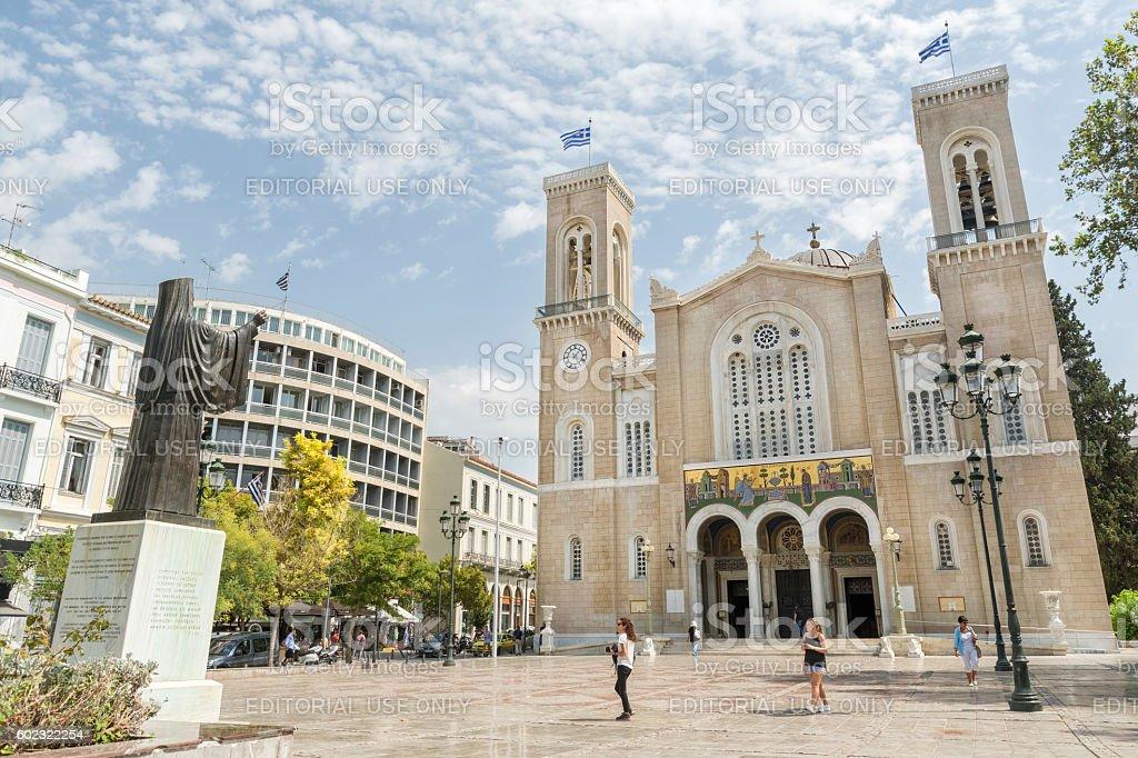 The Metropolitan Cathedral of Athens, Greece stock photo