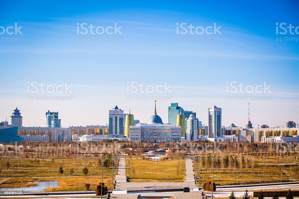 The metropolitan city of Astana stock photo
