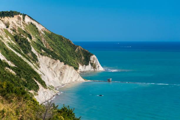 The Mezzavalle beach in the Conero area near Ancona during the summer stock photo