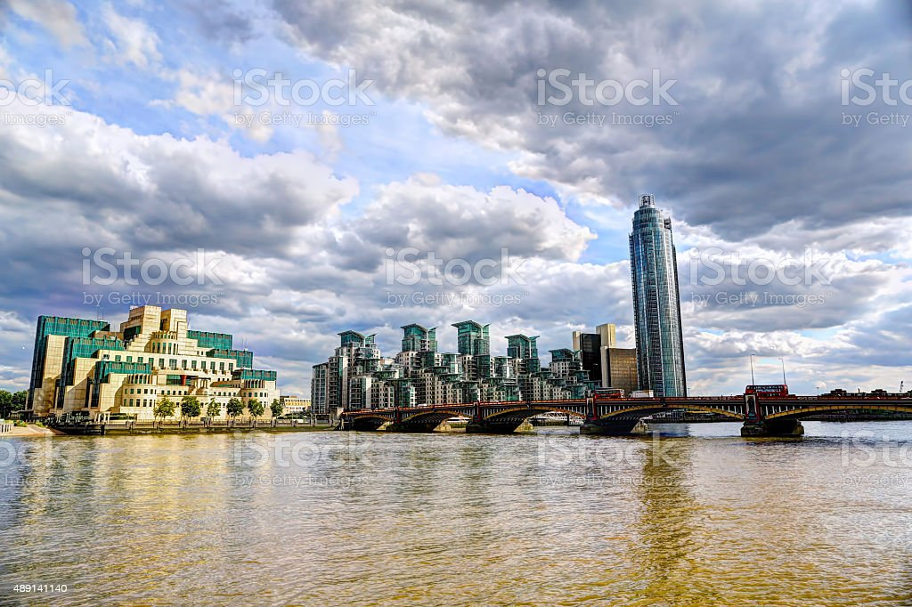 The MI6 building from across the Thames stock photo