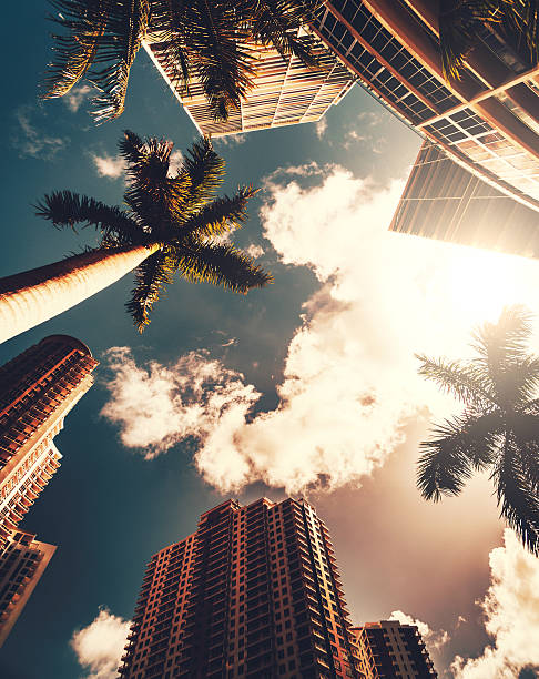 the Miami brickell key aerea in the downtown stock photo