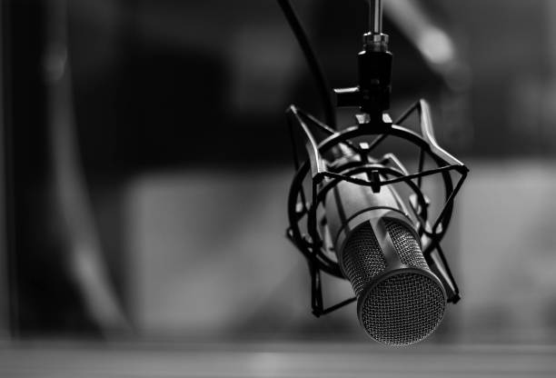 the mic. - radio stock photos and pictures