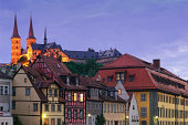 The former monastery St. Michael on top of Michaelsberg and the historic old town of Bamberg in the foreground.