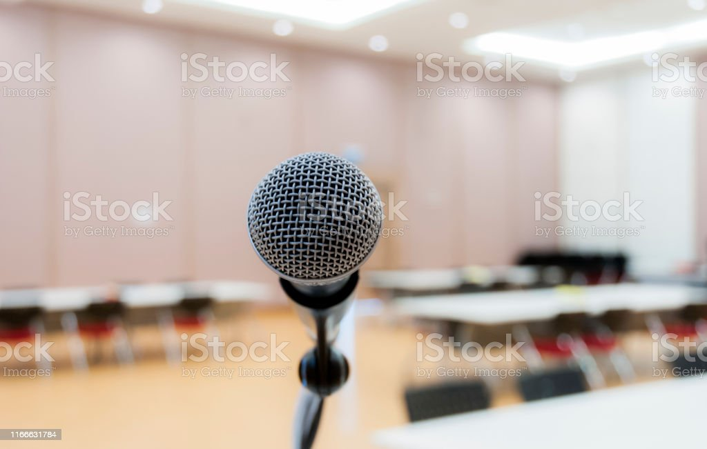The microphone in the classroom, seminar in lecture room or...