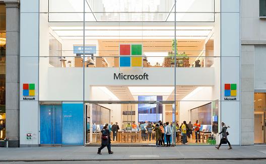 La Microsoft Store De Nueva York Foto de stock y más banco de imágenes de Aire libre