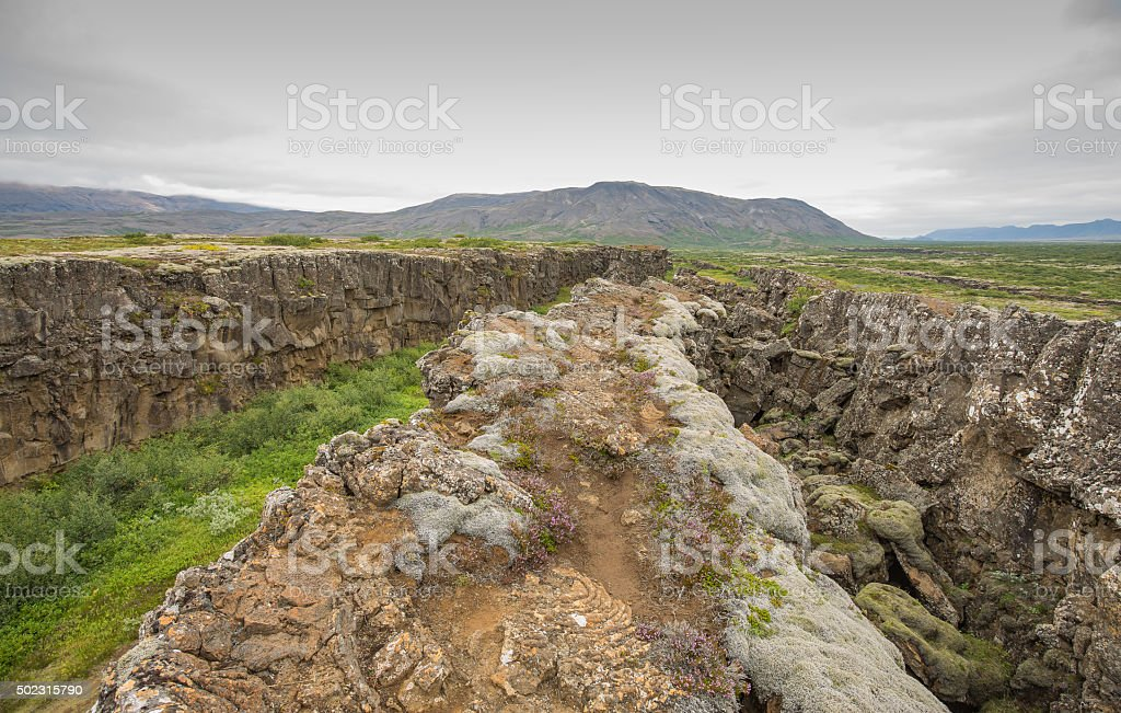 The Mid Atlantic Ridge, cropping out in Iceland. stock photo