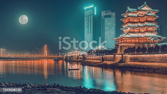 On the Mid-autumn Festival ,Pavilion of Prince Teng and the brige across to Yangtze River under the moon at night ,Chinese trainditional festival and building