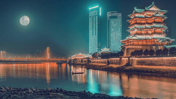 中間秋の祝祭、滕と夜の月の下で長江に間でブリッジ - 北京 ストックフォトと画像