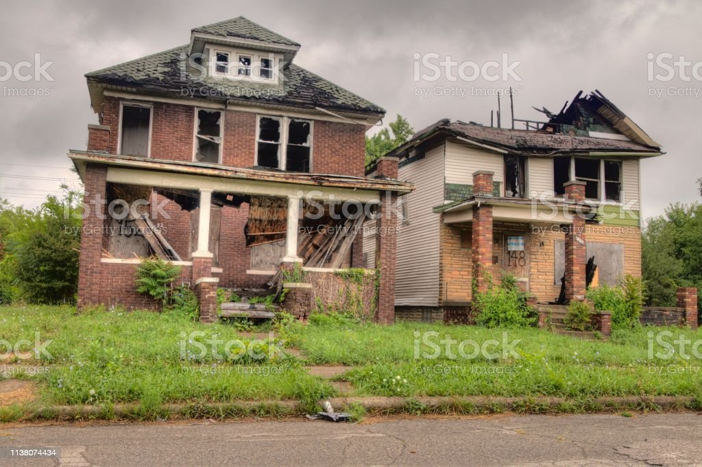 The Midwest City of Detroit has Thousands of Abandoned Buildings left by People and Industry stock photo