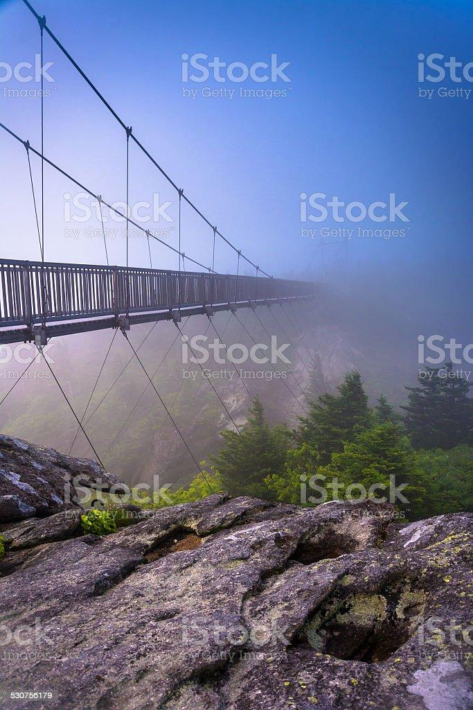 The Mile-High Swinging Bridge in fog, at Grandfather Mountain, N stock photo
