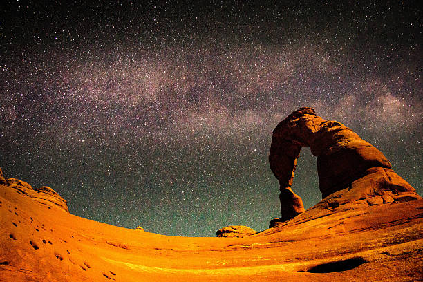 The Milky Way above Delicate Arch, Arches National Park The Milky Way above Delicate Arch, Arches National Park delicate arch stock pictures, royalty-free photos & images