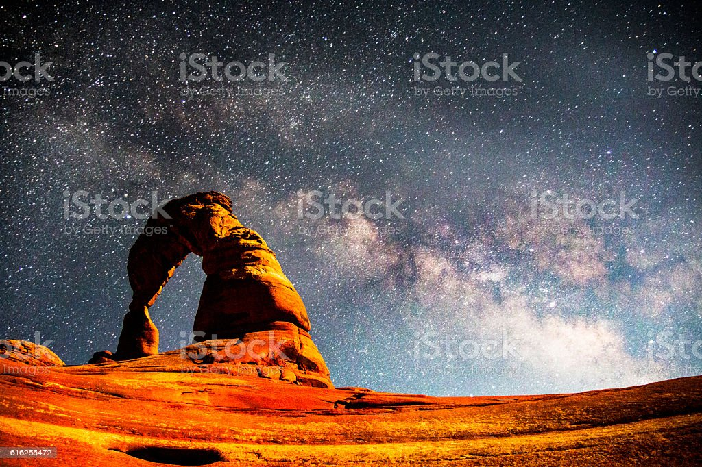 The Milky Way above Delicate Arch, Arches National Park stock photo