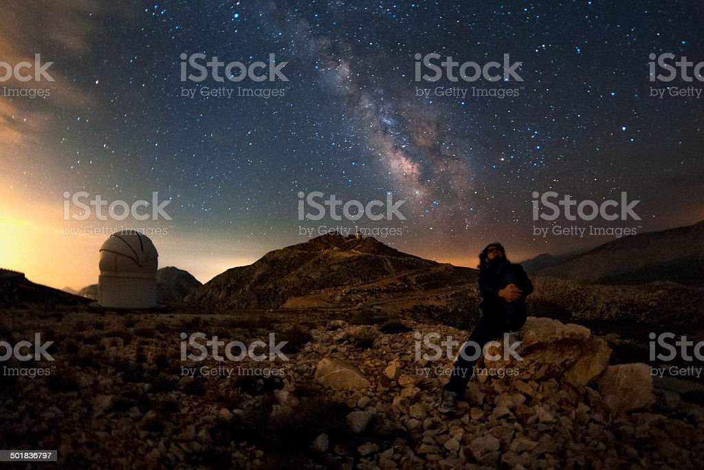 The milky way and the observer stock photo