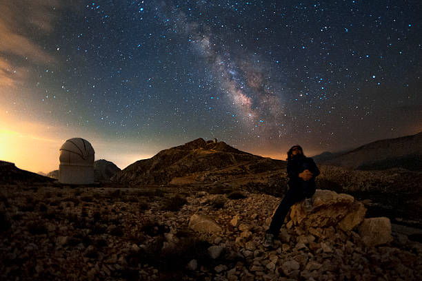 The milky way and the observer An astronomer is enjoying a starry night under the milky way. galileo galilei stock pictures, royalty-free photos & images