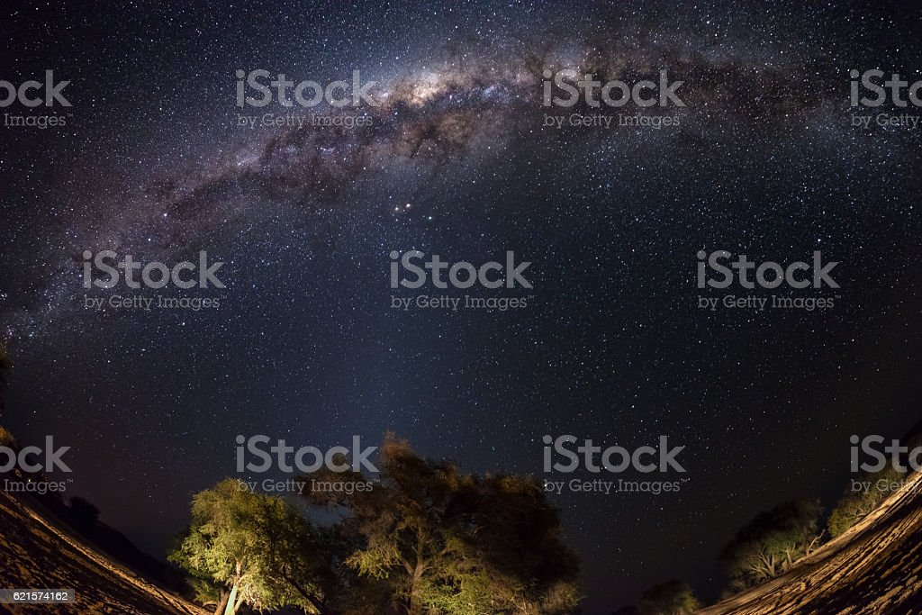 The Milky Way arc from Namibia, fisheye view photo libre de droits