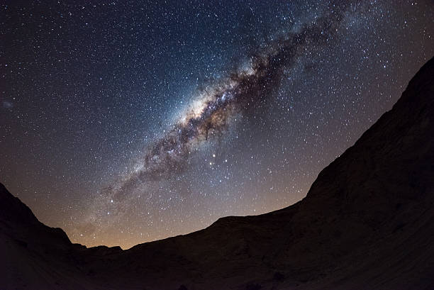 The Milky Way arc over the Namib desert, Namibia Starry sky and Milky Way arc, with details of its colorful core, outstandingly bright, captured from the Namib desert in Namibia, Africa. The Small Magellanic Cloud on the left hand side. namib desert stock pictures, royalty-free photos & images