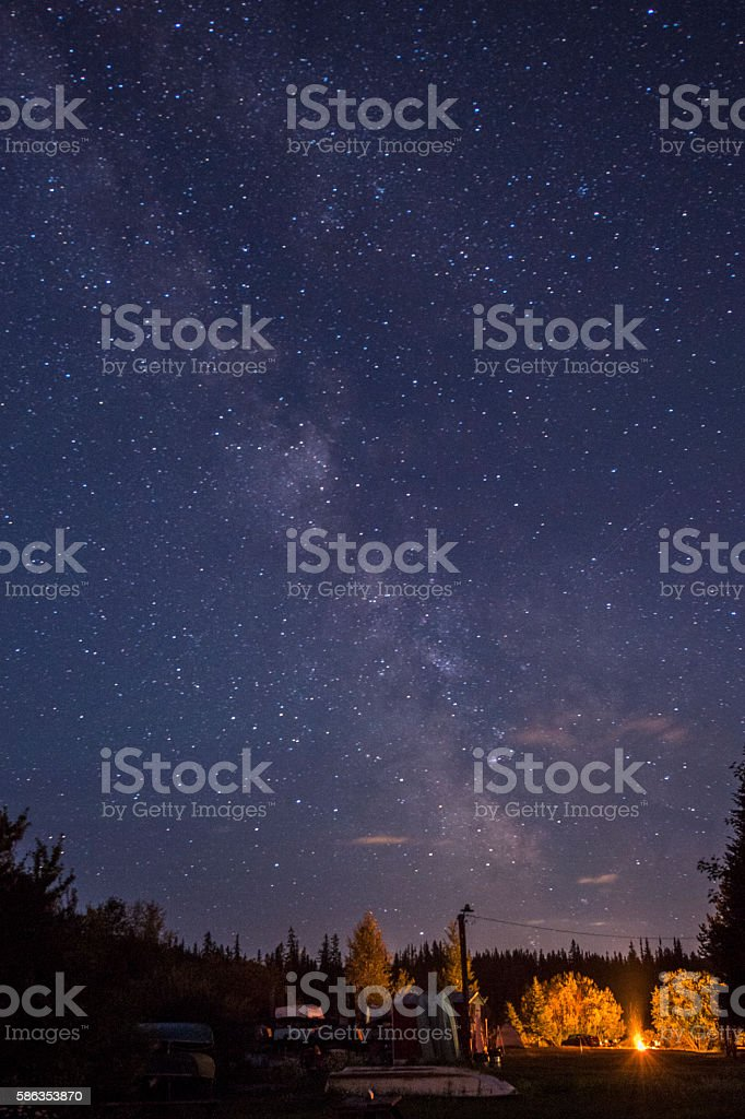 The Milky Way galaxy above a campfire stock photo
