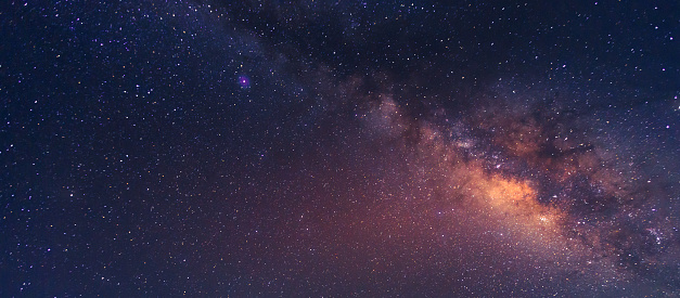 Wide field long exposure photo of the Milky Way. Cygnus region of the Milky Way with the Summer Triangle visible.